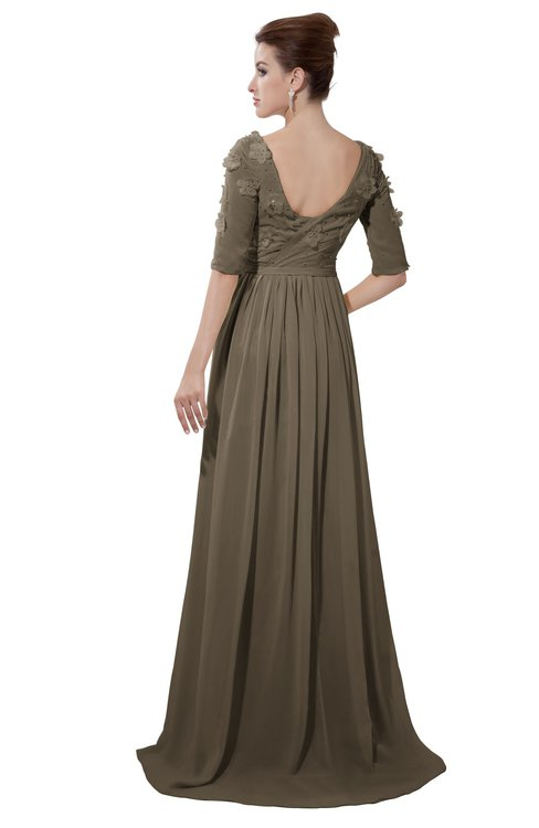 ColsBM Emily Carafe Brown Casual A-line Sabrina Elbow Length Sleeve Backless Beaded Bridesmaid Dresses