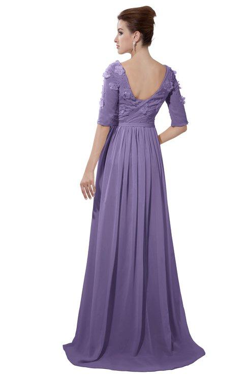 ColsBM Emily Chalk Violet Casual A-line Sabrina Elbow Length Sleeve Backless Beaded Bridesmaid Dresses