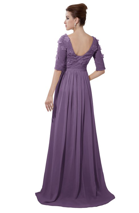 ColsBM Emily Chinese Violet Casual A-line Sabrina Elbow Length Sleeve Backless Beaded Bridesmaid Dresses