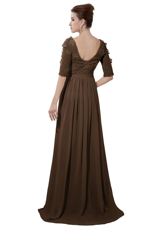 ColsBM Emily Chocolate Brown Casual A-line Sabrina Elbow Length Sleeve Backless Beaded Bridesmaid Dresses
