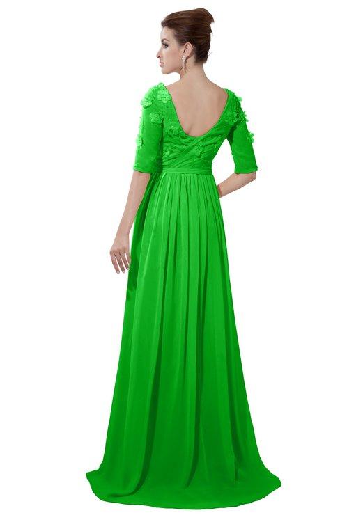 ColsBM Emily Classic Green Casual A-line Sabrina Elbow Length Sleeve Backless Beaded Bridesmaid Dresses