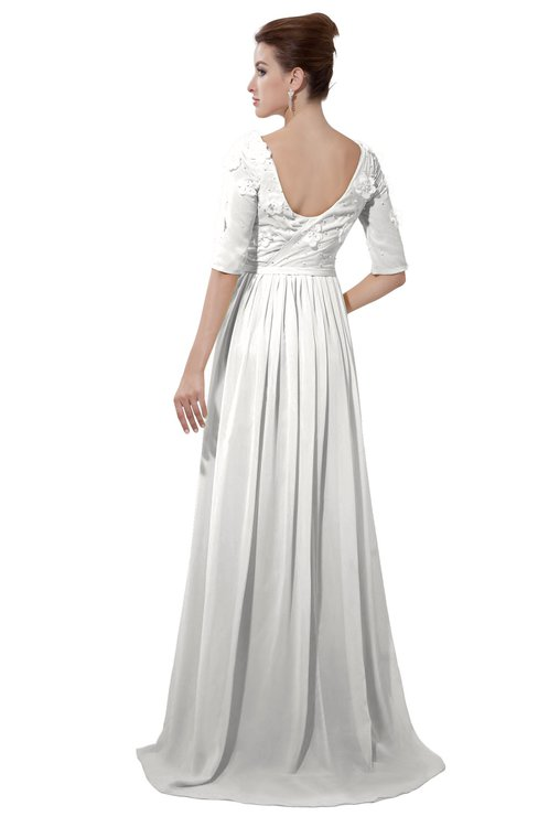 ColsBM Emily Cloud White Casual A-line Sabrina Elbow Length Sleeve Backless Beaded Bridesmaid Dresses