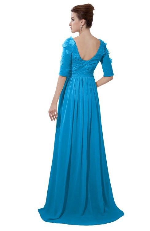 ColsBM Emily Cornflower Blue Casual A-line Sabrina Elbow Length Sleeve Backless Beaded Bridesmaid Dresses