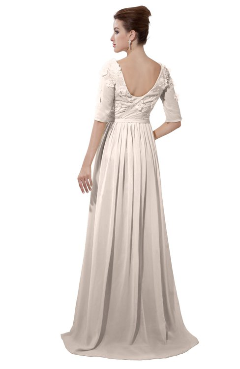 ColsBM Emily Cream Pink Casual A-line Sabrina Elbow Length Sleeve Backless Beaded Bridesmaid Dresses