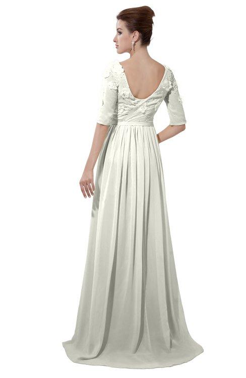 ColsBM Emily Cream Casual A-line Sabrina Elbow Length Sleeve Backless Beaded Bridesmaid Dresses