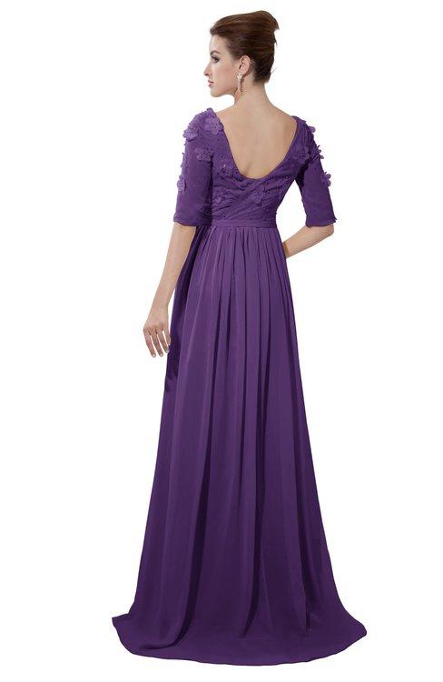 ColsBM Emily Dark Purple Casual A-line Sabrina Elbow Length Sleeve Backless Beaded Bridesmaid Dresses