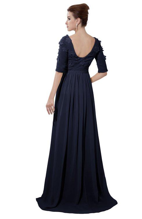 ColsBM Emily Dark Sapphire Casual A-line Sabrina Elbow Length Sleeve Backless Beaded Bridesmaid Dresses