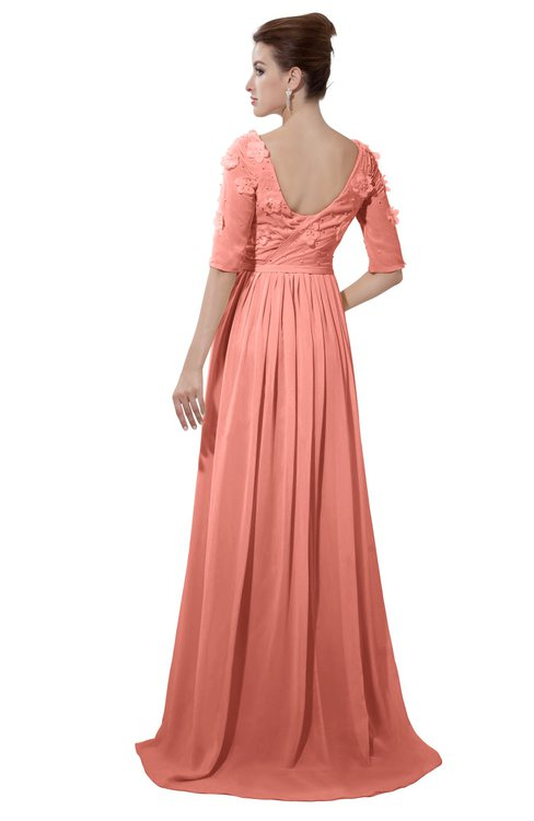 ColsBM Emily Desert Flower Casual A-line Sabrina Elbow Length Sleeve Backless Beaded Bridesmaid Dresses