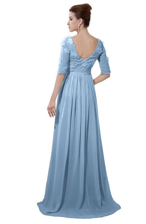 ColsBM Emily Dusty Blue Casual A-line Sabrina Elbow Length Sleeve Backless Beaded Bridesmaid Dresses