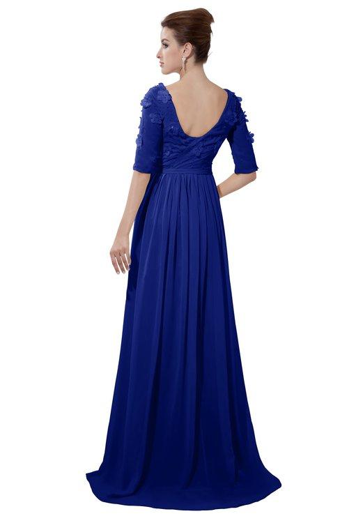 ColsBM Emily Electric Blue Casual A-line Sabrina Elbow Length Sleeve Backless Beaded Bridesmaid Dresses