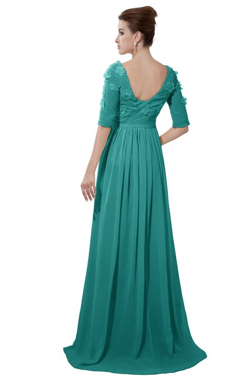 ColsBM Emily Emerald Green Casual A-line Sabrina Elbow Length Sleeve Backless Beaded Bridesmaid Dresses
