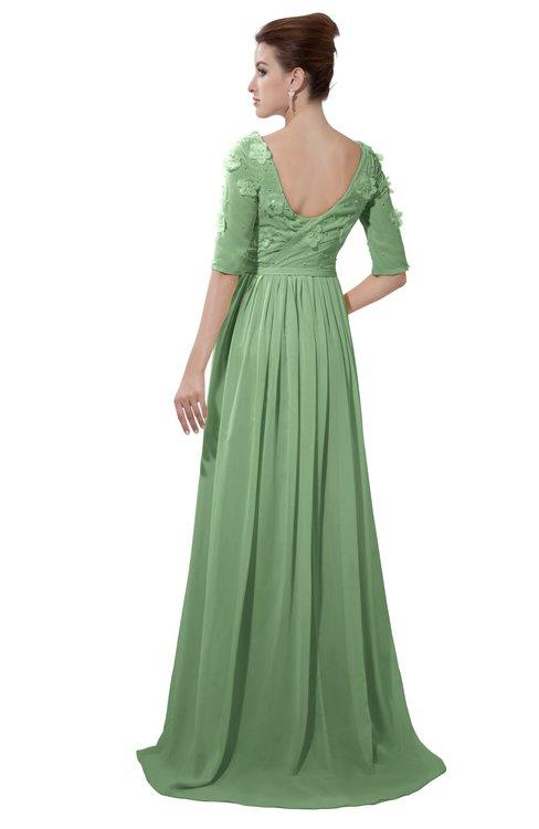 ColsBM Emily Fair Green Casual A-line Sabrina Elbow Length Sleeve Backless Beaded Bridesmaid Dresses