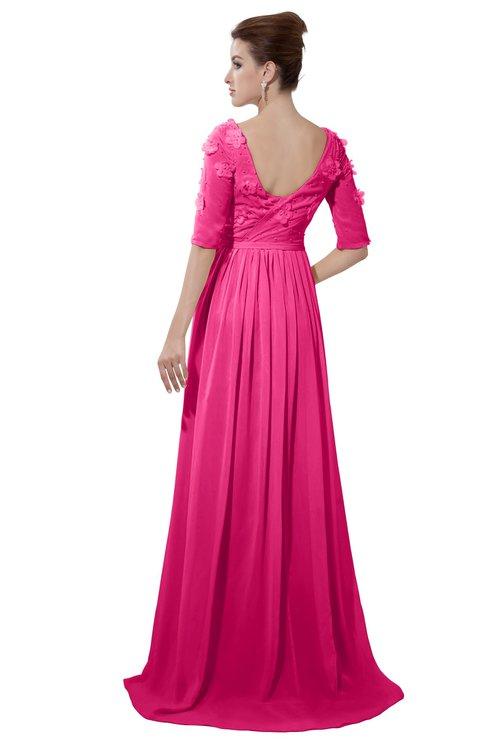 ColsBM Emily Fandango Pink Casual A-line Sabrina Elbow Length Sleeve Backless Beaded Bridesmaid Dresses