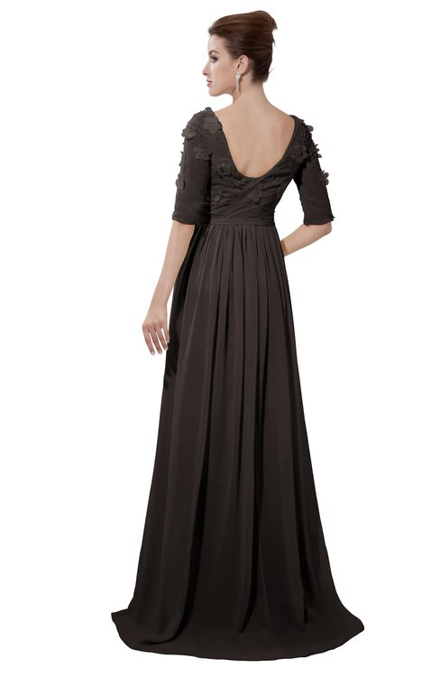 ColsBM Emily Fudge Brown Casual A-line Sabrina Elbow Length Sleeve Backless Beaded Bridesmaid Dresses
