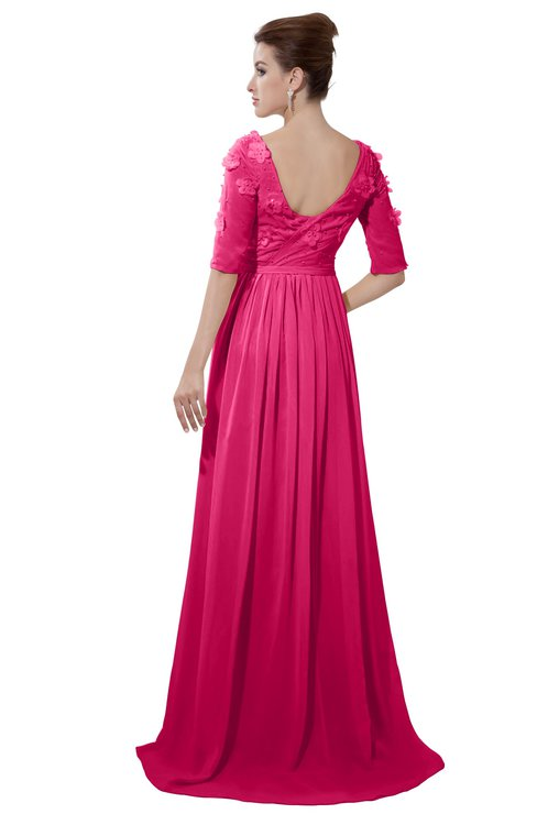 ColsBM Emily Fuschia Casual A-line Sabrina Elbow Length Sleeve Backless Beaded Bridesmaid Dresses