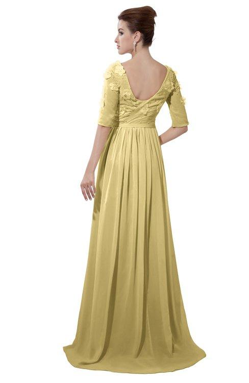 ColsBM Emily Gold Casual A-line Sabrina Elbow Length Sleeve Backless Beaded Bridesmaid Dresses