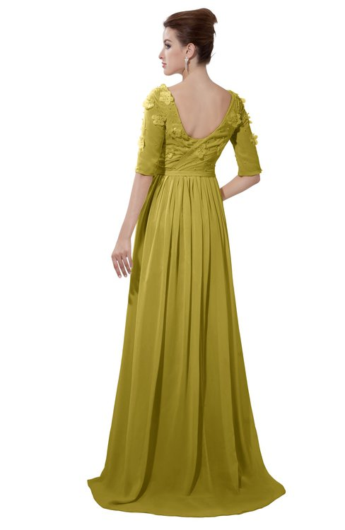 ColsBM Emily Golden Olive Casual A-line Sabrina Elbow Length Sleeve Backless Beaded Bridesmaid Dresses