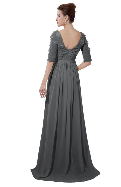 ColsBM Emily Grey Casual A-line Sabrina Elbow Length Sleeve Backless Beaded Bridesmaid Dresses