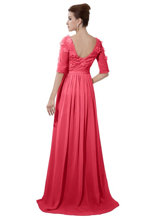 ColsBM Emily Guava Casual A-line Sabrina Elbow Length Sleeve Backless Beaded Bridesmaid Dresses