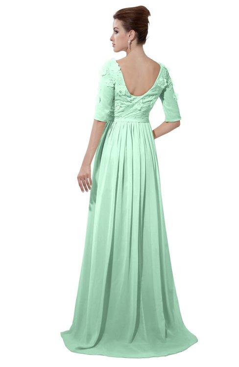 ColsBM Emily Honeydew Casual A-line Sabrina Elbow Length Sleeve Backless Beaded Bridesmaid Dresses