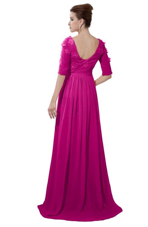 ColsBM Emily Hot Pink Casual A-line Sabrina Elbow Length Sleeve Backless Beaded Bridesmaid Dresses
