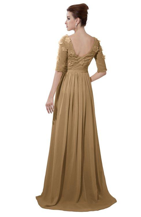 ColsBM Emily Indian Tan Casual A-line Sabrina Elbow Length Sleeve Backless Beaded Bridesmaid Dresses