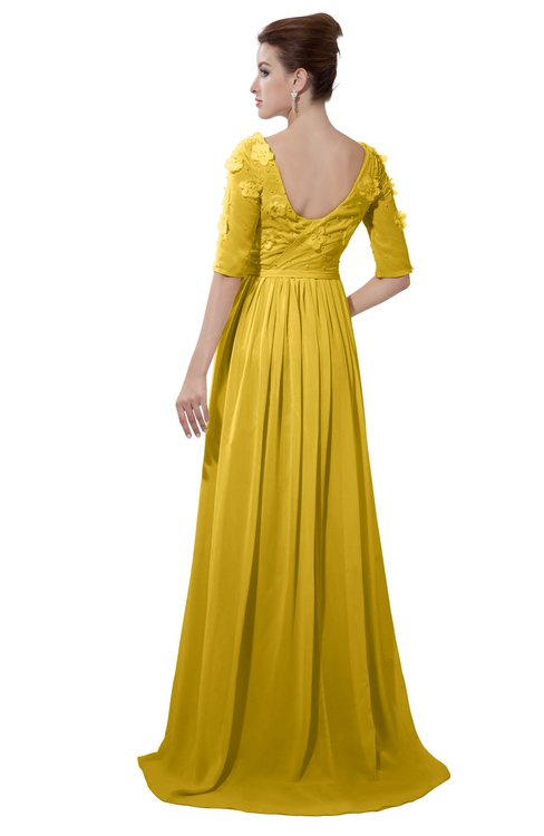 ColsBM Emily Lemon Curry Casual A-line Sabrina Elbow Length Sleeve Backless Beaded Bridesmaid Dresses