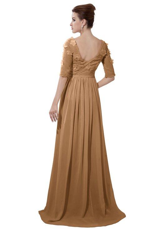 ColsBM Emily Light Brown Casual A-line Sabrina Elbow Length Sleeve Backless Beaded Bridesmaid Dresses