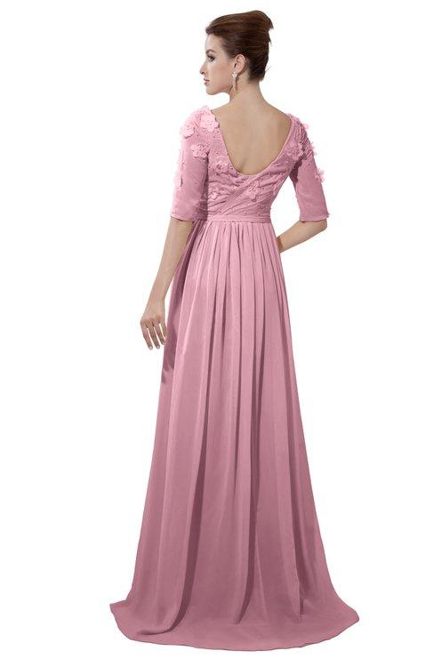 ColsBM Emily Light Coral Casual A-line Sabrina Elbow Length Sleeve Backless Beaded Bridesmaid Dresses