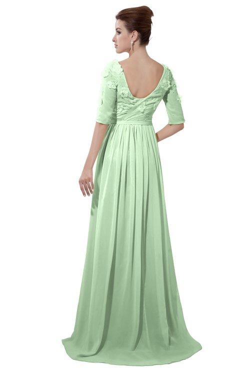 ColsBM Emily Light Green Casual A-line Sabrina Elbow Length Sleeve Backless Beaded Bridesmaid Dresses