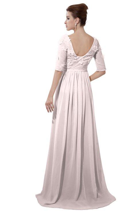 ColsBM Emily Light Pink Casual A-line Sabrina Elbow Length Sleeve Backless Beaded Bridesmaid Dresses