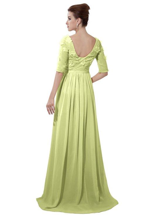 ColsBM Emily Lime Green Casual A-line Sabrina Elbow Length Sleeve Backless Beaded Bridesmaid Dresses
