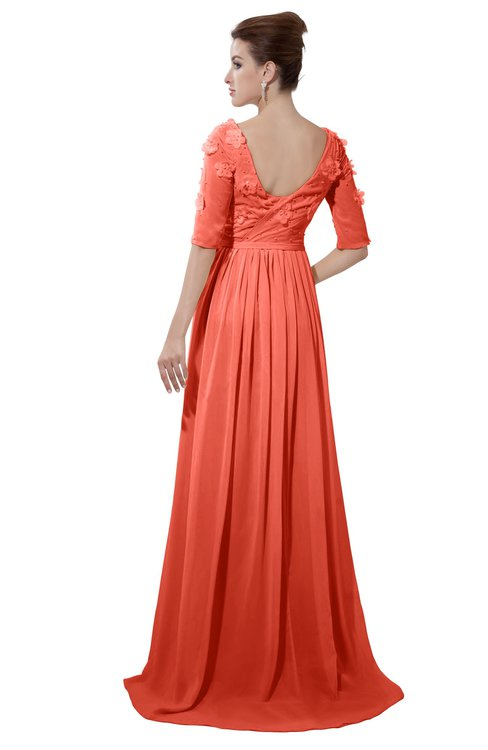 ColsBM Emily Living Coral Casual A-line Sabrina Elbow Length Sleeve Backless Beaded Bridesmaid Dresses