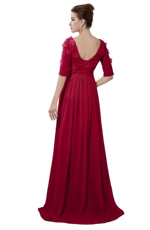 ColsBM Emily Maroon Casual A-line Sabrina Elbow Length Sleeve Backless Beaded Bridesmaid Dresses