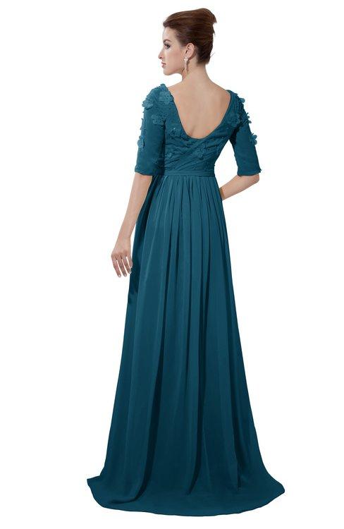 ColsBM Emily Moroccan Blue Casual A-line Sabrina Elbow Length Sleeve Backless Beaded Bridesmaid Dresses