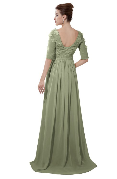 ColsBM Emily Moss Green Casual A-line Sabrina Elbow Length Sleeve Backless Beaded Bridesmaid Dresses