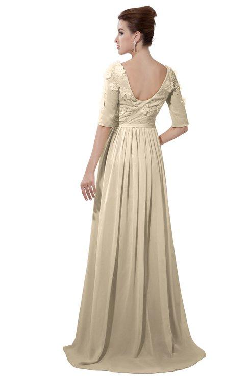 ColsBM Emily Novelle Peach Casual A-line Sabrina Elbow Length Sleeve Backless Beaded Bridesmaid Dresses