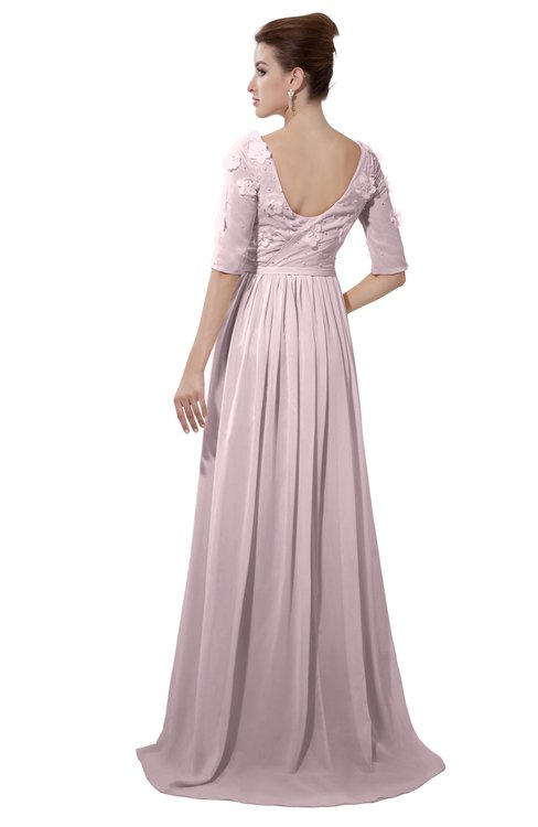 ColsBM Emily Pale Lilac Casual A-line Sabrina Elbow Length Sleeve Backless Beaded Bridesmaid Dresses