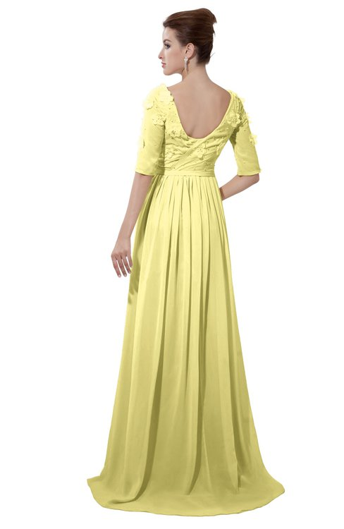 ColsBM Emily Pastel Yellow Casual A-line Sabrina Elbow Length Sleeve Backless Beaded Bridesmaid Dresses