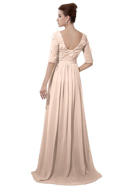 ColsBM Emily Peach Puree Casual A-line Sabrina Elbow Length Sleeve Backless Beaded Bridesmaid Dresses