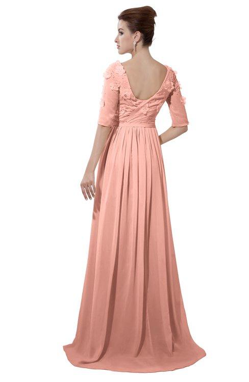 ColsBM Emily Peach Casual A-line Sabrina Elbow Length Sleeve Backless Beaded Bridesmaid Dresses