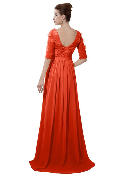 ColsBM Emily Persimmon Casual A-line Sabrina Elbow Length Sleeve Backless Beaded Bridesmaid Dresses