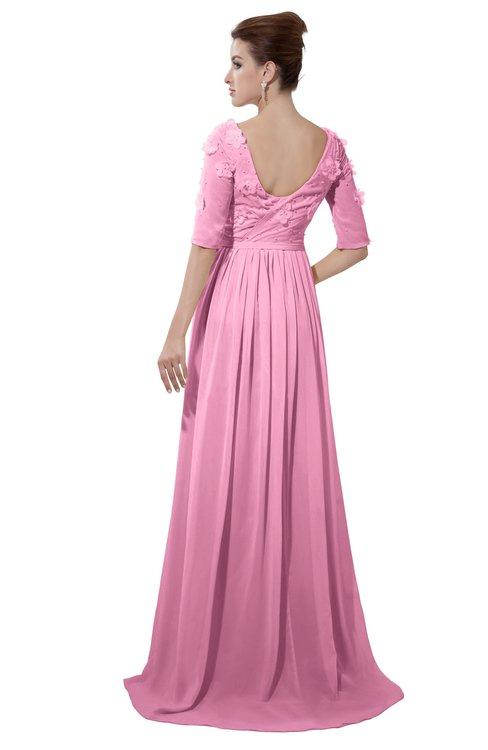 ColsBM Emily Pink Casual A-line Sabrina Elbow Length Sleeve Backless Beaded Bridesmaid Dresses