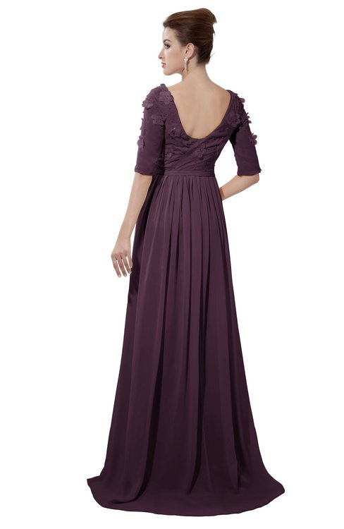 ColsBM Emily Plum Casual A-line Sabrina Elbow Length Sleeve Backless Beaded Bridesmaid Dresses