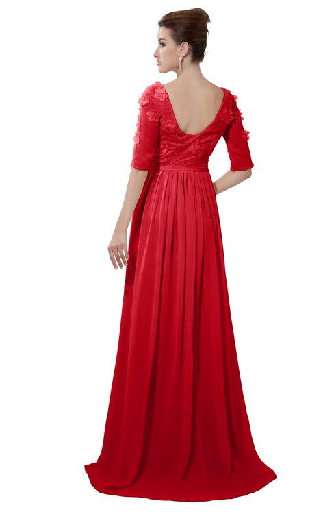 ColsBM Emily Red Casual A-line Sabrina Elbow Length Sleeve Backless Beaded Bridesmaid Dresses