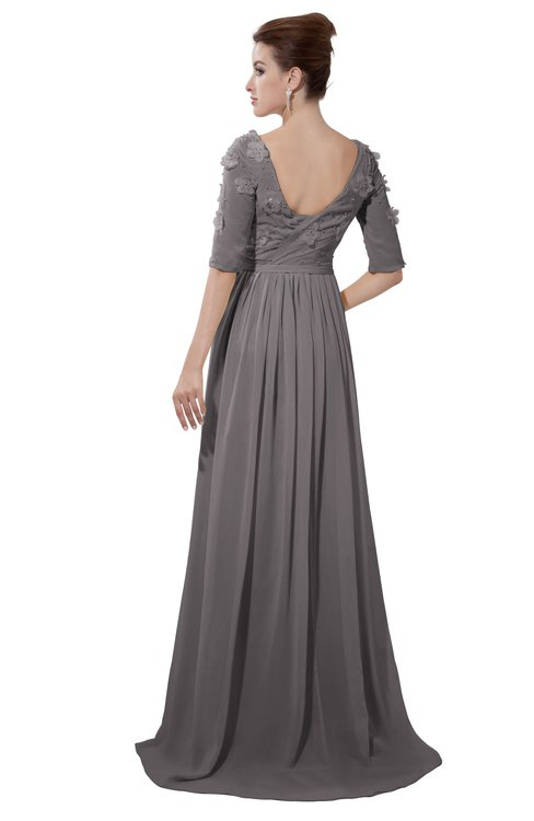 ColsBM Emily Ridge Grey Casual A-line Sabrina Elbow Length Sleeve Backless Beaded Bridesmaid Dresses