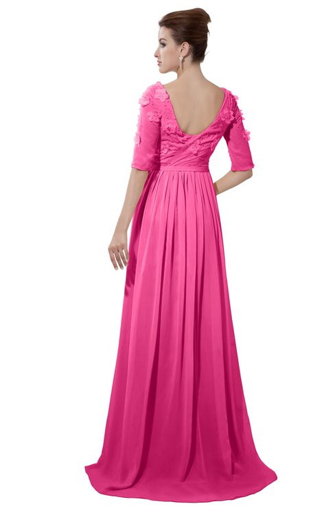 ColsBM Emily Rose Pink Casual A-line Sabrina Elbow Length Sleeve Backless Beaded Bridesmaid Dresses