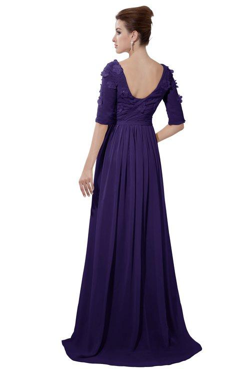 ColsBM Emily Royal Purple Casual A-line Sabrina Elbow Length Sleeve Backless Beaded Bridesmaid Dresses