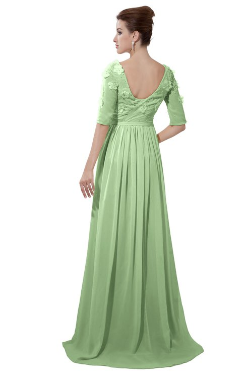 ColsBM Emily Sage Green Casual A-line Sabrina Elbow Length Sleeve Backless Beaded Bridesmaid Dresses