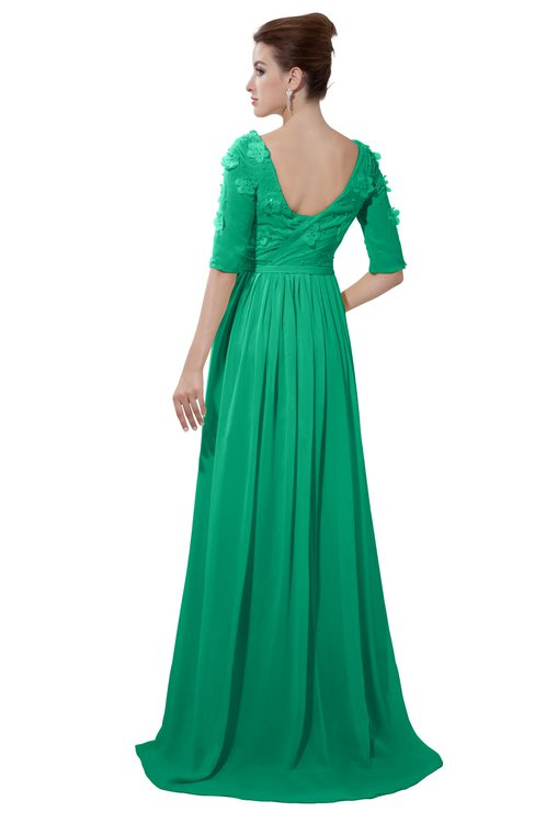ColsBM Emily Sea Green Casual A-line Sabrina Elbow Length Sleeve Backless Beaded Bridesmaid Dresses
